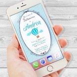Invito per Battesimo digitale, invito per invio WhatsApp, messenger, Invito digitale per battesimo Bimbo, invio digitale, Battesimo