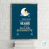 Poster stampabile della buonanotte, Regalo da appendere in cameretta, stampa bambini, quadro cameretta stampabile, illustrazione digitale
