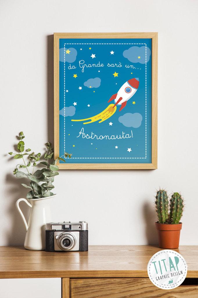 Astronauta Poster stampabile per bambini, Regalo da appendere in cameretta, stampa per bambini, quadro cameretta stampabile
