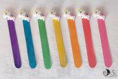 Bomboniere segnalibro legno compleanno bimba arcobaleno unicorni personalizzabili