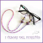 """Cordino occhiali """" cuore viola blu """" catenella portaocchiali fimo idea regalo Natale  donna bambina ragazza kawaii elegante"""