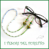 """Cordino occhiali """" cuore verde blu """" catenella portaocchiali fimo idea regalo Natale  donna bambina ragazza kawaii elegante"""