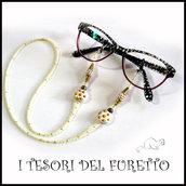 """Cordino occhiali """" Coccinella bianca oro """" catenella portaocchiali fimo idea regalo Natale  donna bambina ragazza kawaii elegante"""
