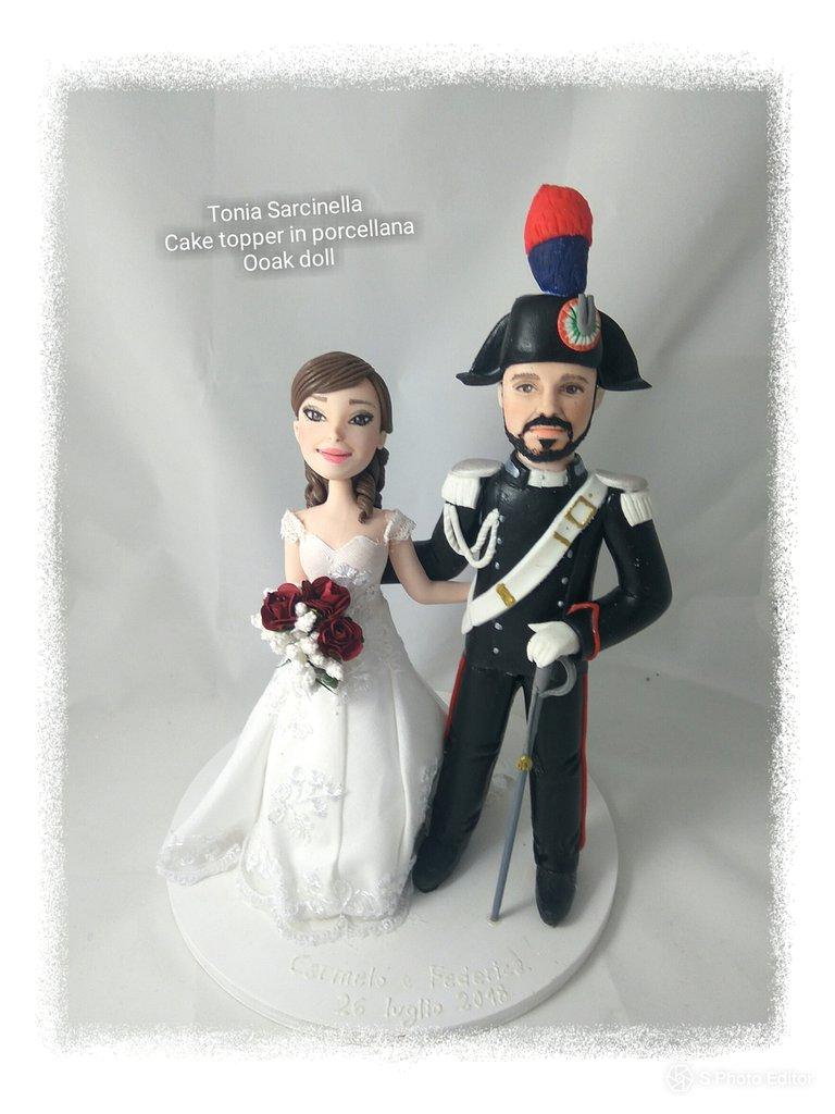 Caketopper sposo carabiniere, caricature doll