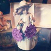 Orecchini lilla moda uncinetto donna ragazza regalo idea