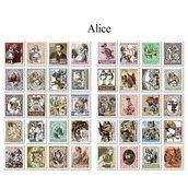 """LOTTO 80 stickers/francobolli adesivi in carta """"Alice"""" (2.2x1.8cm ca)"""