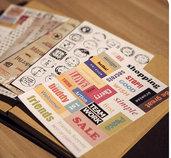 "LOTTO 6 fogli stickers/francobolli adesivi in carta ""Mix words"" (14x10cm)"
