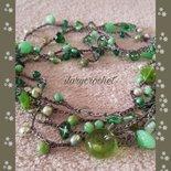 Collana lunga stile boho uncinetto con perline di vetro di Bohemia