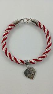Braccialetto XD JAM Cuore con cinturino rosso-bianco