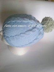Cappello bambino / bambina in pura lana 100% con trecce e pompom