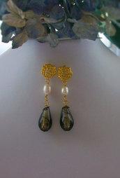 Orecchini con Perle coltivate e cristallo di Boemia, 55 mm