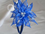 Cerchietto fascinator blu