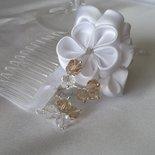 Pettine per acconciatura sposa con fiori Kanzashi e perle
