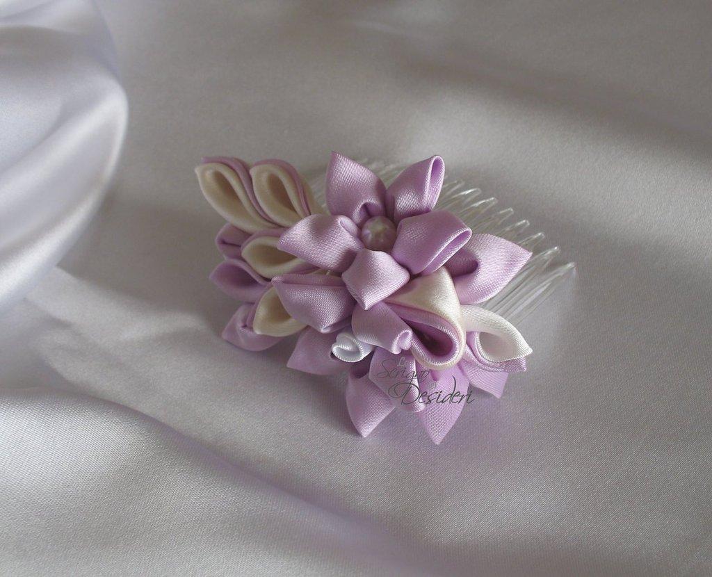 Pettine acconciatura sposa kanzashi lilla, cipria e bianco
