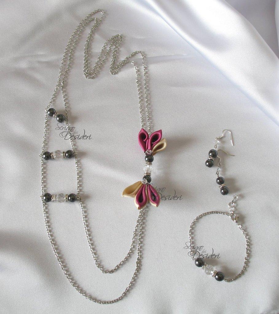 qualità eccellente lussureggiante nel design vari stili Parure lunga con perle ematite e dettagli kanzashi