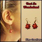 Orecchini stelle di natale, fiori rossi, orecchini natale, orecchini natalizi