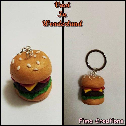 Portachiavi Hamburger, Panino in Fimo, Fast Food Charm, Portachiavi Fimo
