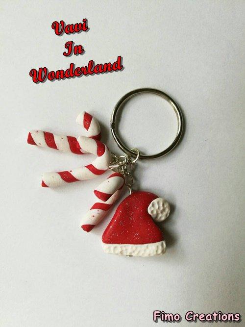 Portachiavi Natalizia, Cappellino di Natale, Stecco Zucchero, Natale Fimo, Idea regalo