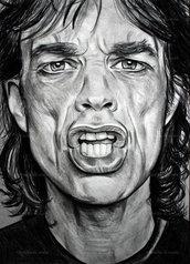 Ritratto Mick Jagger matita su cartoncino disegnato a mano