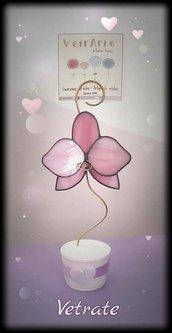 Orchidea portafoto/segnaposto realizzata in vetro