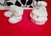 Set neonato composto da cappello e scarpine bianche unisex, cappello neonato/a e scarpine lavorate a maglia, regalo di nascita, regalo di natale