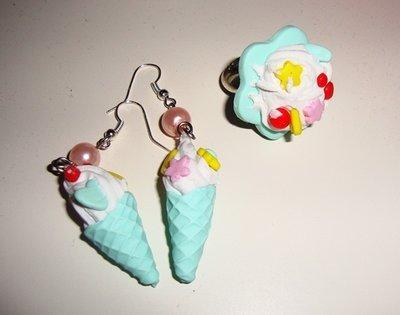 anello e orecchini con panna
