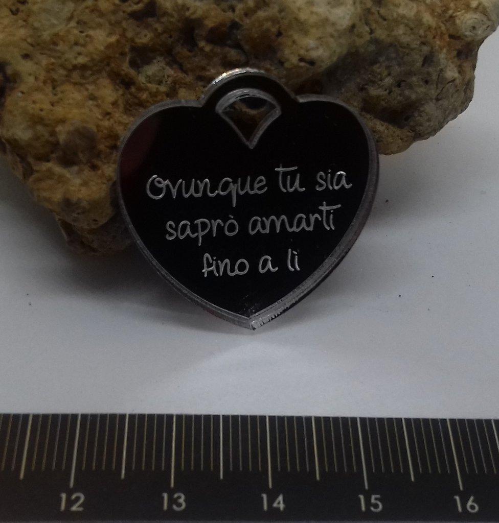 (300) Ciondolo cuore tiffany plexiglass argento specchiato
