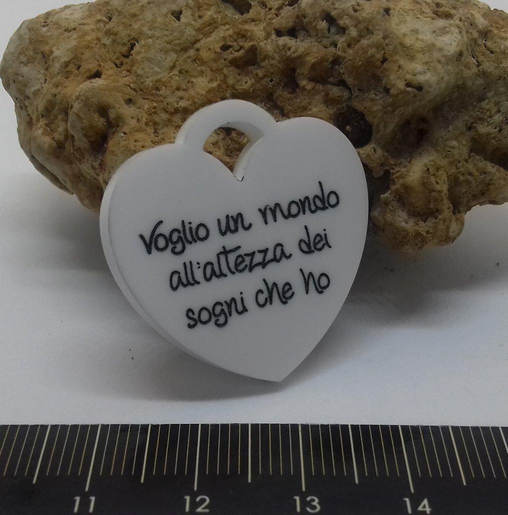 (302) Ciondolo cuore tiffany plexiglass bianco