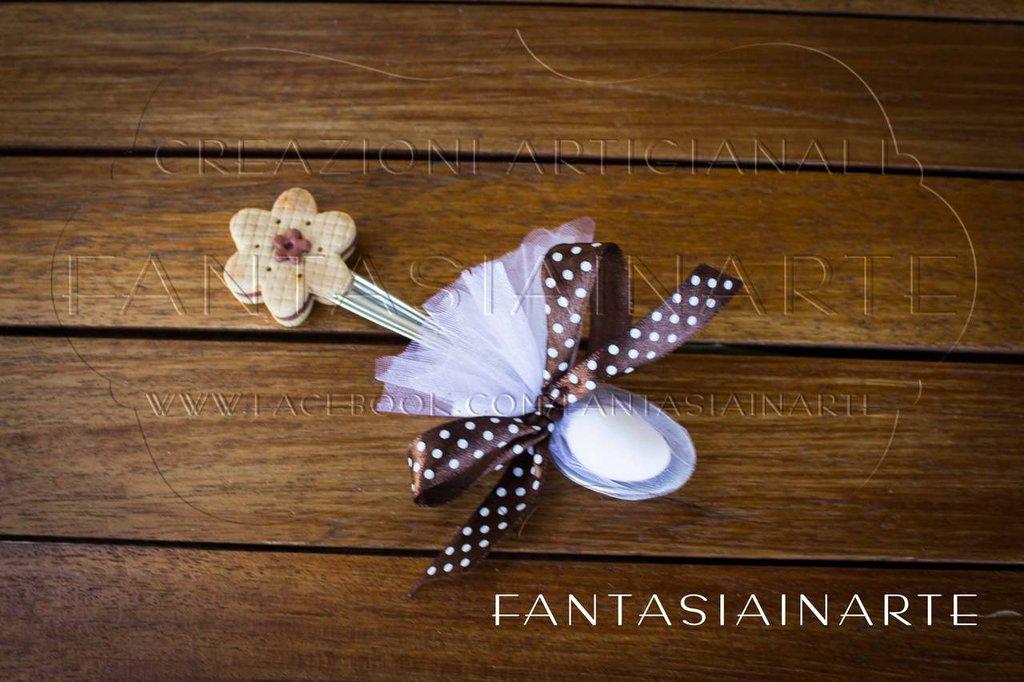 Bomboniera o Segnaposto Cucchiaino decorato a mano Tema Biscotto