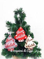 Decorazione natalizia albero di natale in pannolenci personalizzabile con nome handmade