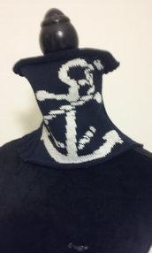 scalda collo lana maglia ricamato a mano