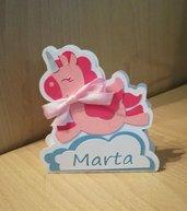 Scatolina battesimo nascita compleanno evento nome personalizzabile unicorno