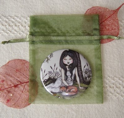 Specchietto-Under the willow tree-pocket mirror 2.25 inch (5.6cm)