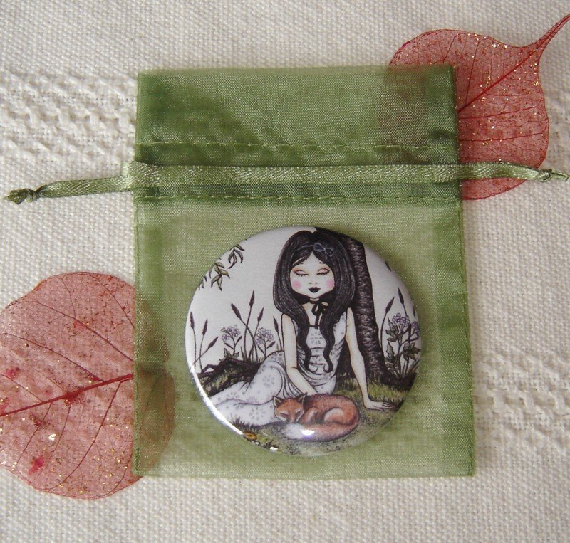 Specchietto-Under the willow tree-pocket mirror 2.25 inch (5.6cm)