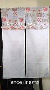 Coppia Tende Finestra Coprenti Country Chic Misura 145x45cm