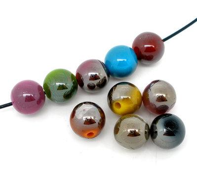 30 perle acriliche 10mm metallizzate colori assortiti