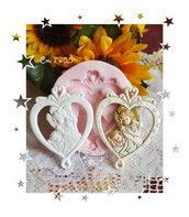 Stampo *Appendino cuore stilizzato Angelo custode con bambino*