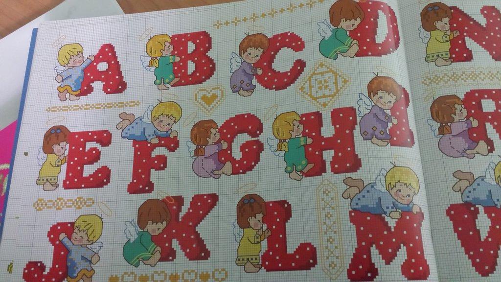 Schema alfabeto natalizio con angioletti ricamo punto for Ricamo punto croce lettere