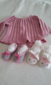 copri fasce bimba + scarpine lana maglia