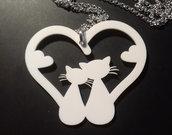 (420) Ciondolo cuore gatti  innamorati in plexiglass con collana fina