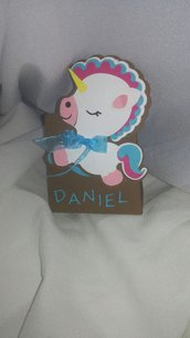 Scatolina nascita battesimo festa unicorno nome scatoline