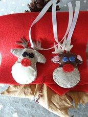 Coppia Renna di babbo Natale decorazioni albero