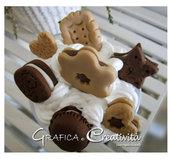 Barattolo in vetro con etichetta lavagna e biscotti