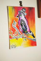 Quadretto volatile per arredo casa colorato ideato e dipinto a mano