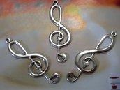 Ciondolo collana 'Chiave di violino' metallo