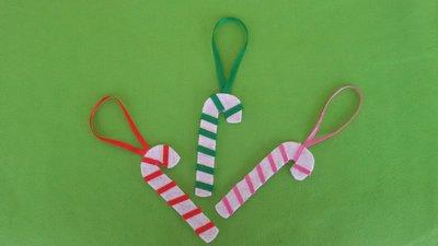 3 Bastoncini di zucchero, decorazione natalizia, h 10 cm - L circa 2 cm.