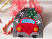 DECORAZIONE NATALIZIA(Auto in feltro).Ornamento invernale/albero di natale o la porta,la stanza dei bambini.Regalo,applicazione per cuscino