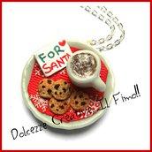 """Natale in Dolcezze -  Collana """"For Santa"""" spuntino per babbo natale con latte al cioccolato e biscotti . handmade, idea regalo natale"""