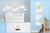 Set Room , Adesivi murali bambini, kit, metro etichetta portaOrsetti sulle nuvole