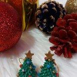 Orecchini natalizi - Albero di Natale con stella dorata